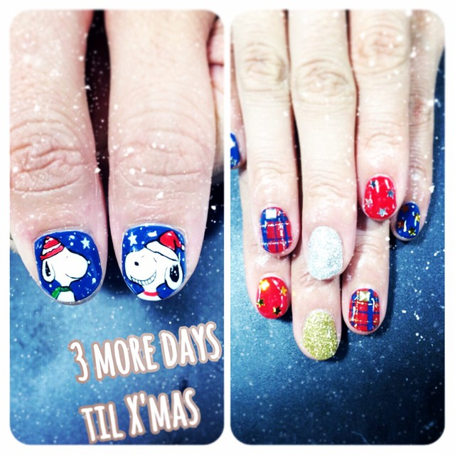 My Snoopy Christmas nails. All hand painted by a Japanese